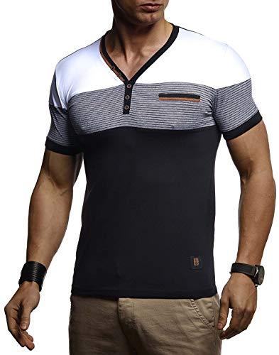Leif Nelson Herren Sommer T-Shirt V-Ausschnitt Slim Fit Baumwolle-Anteil Basic Männer T-Shirt V-Neck Hoodie-Sweatshirt Kurzarm lang Weißes Jungen Shirt Kurzarmshirts LN4885 Schwarz X-Large