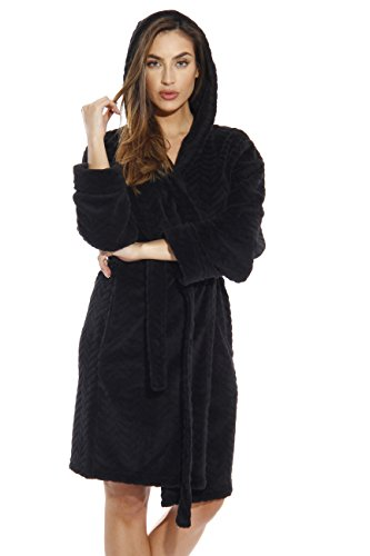 Just Love 6341-Black-S Kimono Robe/Hooded Bath Robes for Women