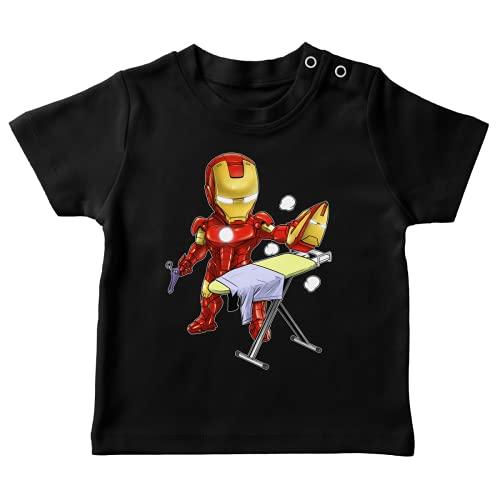 Okiwoki T-Shirt bébé Noir Parodie Iron Man - Tony Stark - Le Super Héros du Quotidien !! (T-Shirt de qualité Premium de Taille 12 Mois - imprimé en France)