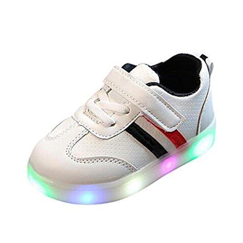 FNKDOR Baby Kleinkind Kinder LED Leuchtschuhe Weiß Turnschuhe Striped Sneaker(28,Schwarz)
