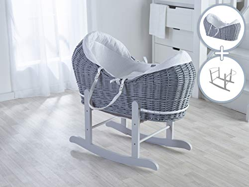 Grey Noah Pod with White Waffle Dressing & Deluxe Grey Rocking Stand