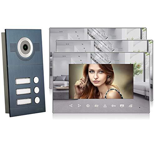 2 Draht 3 Familienhaus Türsprechanlage Gegensprechanlage Fischaugenkamera 170°, 3x7'' Monitor Spiegel, Außenstation Anthrazit