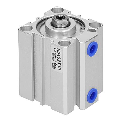 Agatige Cilindro de Aire, Cilindro de Aluminio Fino de Doble acción Componentes de Sellado Compacto neumático Diámetro 32 mm(SDA32x30)