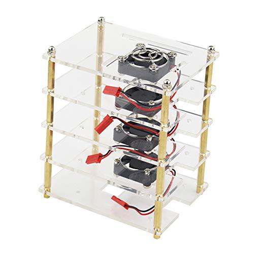 """Caixa de acrílico transparente com 4 camadas com ventilador de refrigeração de dissipação de calor para montagem """"faça você mesmo"""", ideal para Raspberry Pi 3 B/B+, Pi 2 B/B+"""