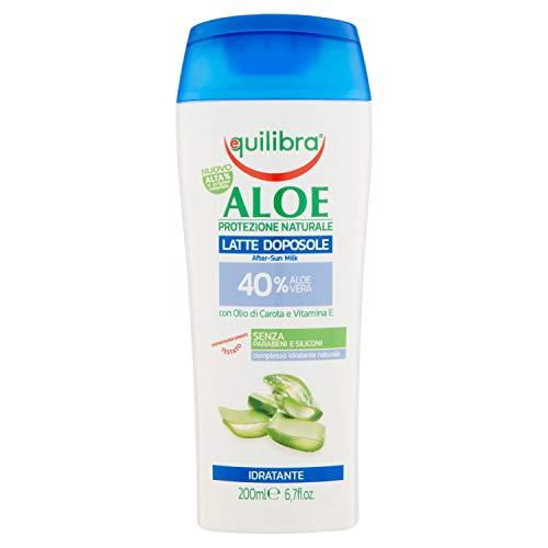 Equilibra Solari, Aloe Latte Doposole, Doposole a Base di Aloe Vera, Nutre la Pelle Disidratata dal Sole, con Olio di Carota e Vitamina E per un Colorito Dorato, Texture Setosa, 200 ml