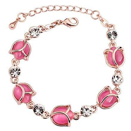 SataanReaper Presents para Las Mujeres Brotes De Rose Pink Opal Rosa De Oro Cisne En El Amor De La Perla del Encanto De La Lámpara De Cristal Pulsera-Encanto Y Niñas #SR-255