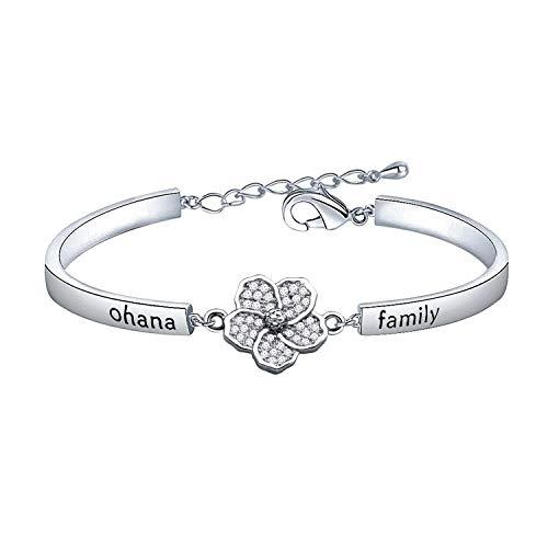 KUIYAI You are My Ohana Family Bracelet with Hibiscus Flower Charm (Silver Bracelet)
