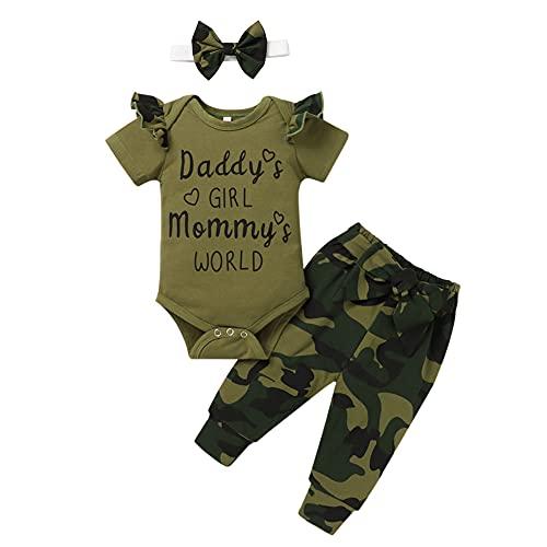 FYMNSI Conjunto de ropa de verano para bebé, diseño de camuflaje, camiseta y falda estampada, 3 piezas / 2 piezas Army Green - Mommy's World 6-9 Meses