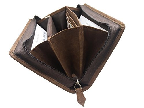 Essart Faux Leather Travel Document Holder/Passport Holder/Cheque Book and Passbook Holder/Card Holder/Currency Holder/Formal Wallet with Zipp Closure -Brown