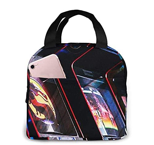 Borsa termica per pranzo al sacco per donna uomo retro Arcade slot per monete, borsa termica riutilizzabile per pranzo al sacco con tasca frontale