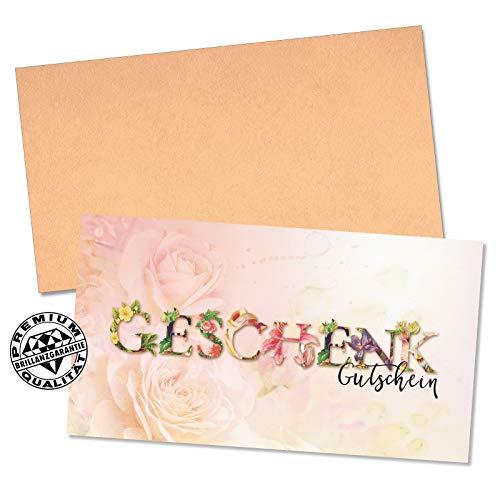 50 hochwertige Gutscheinkarten + 50 Kuverts. Gutscheine für Unternehmen zum Ausfüllen, neutral, blanko. Vorderseite hochglänzend. U1247