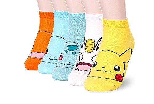 Damen-Socken – niedliches Tier-Design, Baumwolle, lustig, lässig, mit Katzenmotiv, Weihnachtsgeschenk Gr. One size, Animation - Pokemon 5 Stück