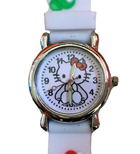 CursOnline® - Reloj de pulsera para niña, diseño de Hello Kitty 3D, correa de silicona suave, caja de acero y pulsera blanca