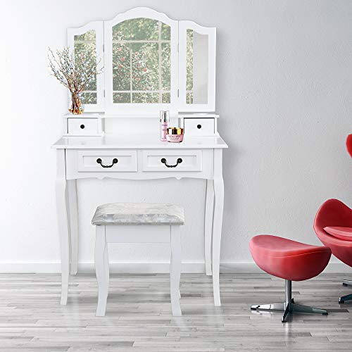 Wolketon Schminktisch mit 3 spiegel und 4 schubladen Kosmetiktisch Frisierkommode Frisiertisch Spiegel mit Polsterhocker Sitzhocker Hohe Qualität