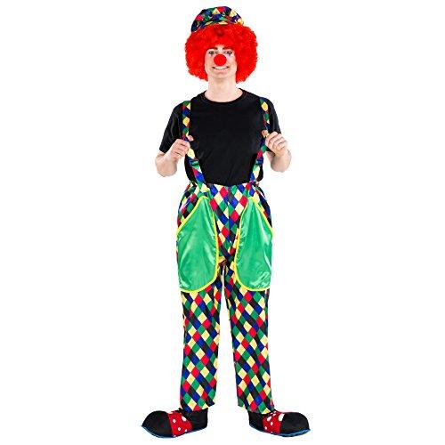 dressforfun Costume da Uomo - Clown Augusto | Lucidi Pantaloni Colorati con Bretelle | Incl. Colorato Berretto con Visiera e Naso da Pagliaccio (XXL | No. 300832)