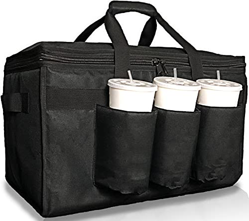 Freshie Insulated Food Delivery Bag with Cup Holders/Drink Carriers Premium XXL, Great for Beverages, Grocery, Catering, DoorDash, Uber Eats, PostMates, Grubhub, Commercial Quality Hot and Cold (XL)