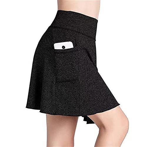 Dasongff Pantalones cortos de deporte 2 en 1 para mujer, pantalones de deporte, tenis, deporte, faldas, fitness, yoga, minifaldas, monocolor, ligeros, transpirables, cómodos, para correr, tenis, etc.