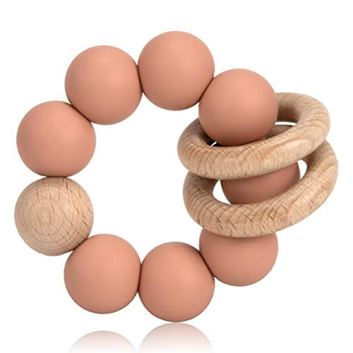 Teether Ring Toy for Baby, Silicone & Natural Wooden Infant Baby Bangle Teether Toys and Develop Sensory Skills (Muted)