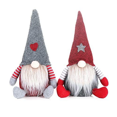 Hengqiyuan Niedliche Valentinstag Zwergpuppe, handgefertigte schwedische Tomte Weihnachten Weihnachtsmann Santa Santa Weihnachten Figuren Santa Plüsch Puppe präsentiert Wintertischverzierung,2pcs