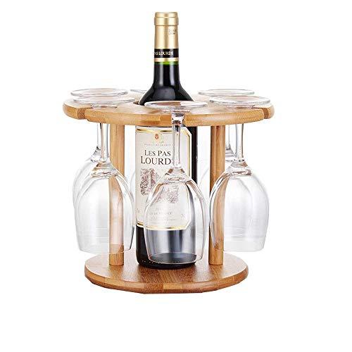 Manyao Madera estante del vino, vino de madera de bambú Gabinete creativo Simplicidad gabinete del vino, 6 rack Plegable