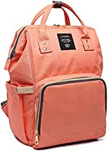 Lequeen Diaper Bag Multi-Function Waterproof Travel Backpack Nappy Bags For Baby Care, Large Capacity, Pink