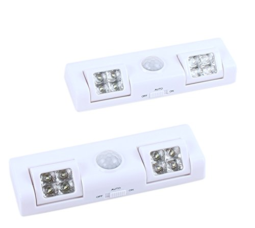 8 LED Portable Motion Sensor Light - Auto On/Off Night Light - Battery Operated Great for Bedroom, Hallway and Stairs Lighting - 2pack