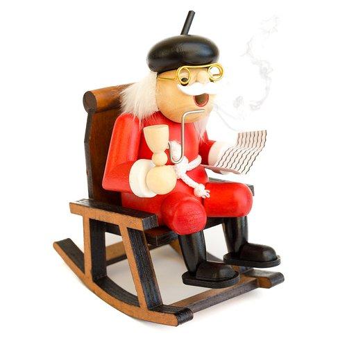 Rauchfigur mit Schaukelstuhl, Räucherfigur Opa, Handarbeit, Räuchermännchen,