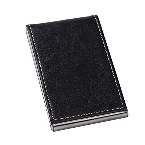 YDC06 El mejor tarjetero en cuero negro, funda para tarjetas por Y&G.