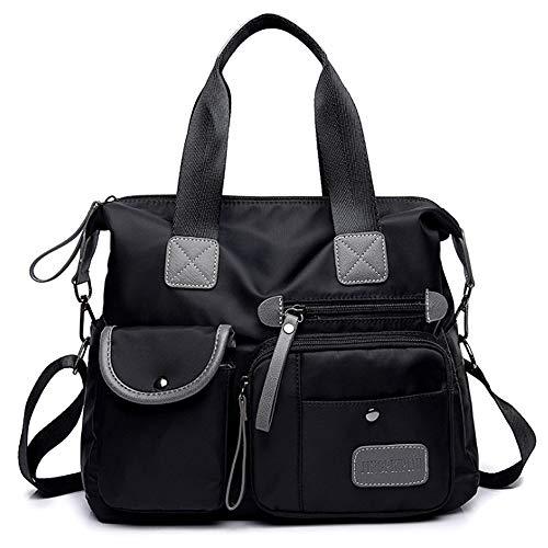 BAGZY Bolso Para Bandolera Desmontable Multi-bolsillos Comodo Gran Capacidad Mujer Grande Nylon Bolso de Mano Diseño de Bandolera Bolso de Hombro Bolso Shopper Casual Bolso de señora (Negro)