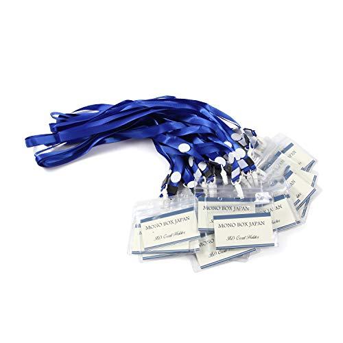 モノボックスジャパン ネームホルダー カードホルダー ネームストラップセット 首掛けイベント用 防水機能 大き目名刺ケース name2 (ブルー, 30本)