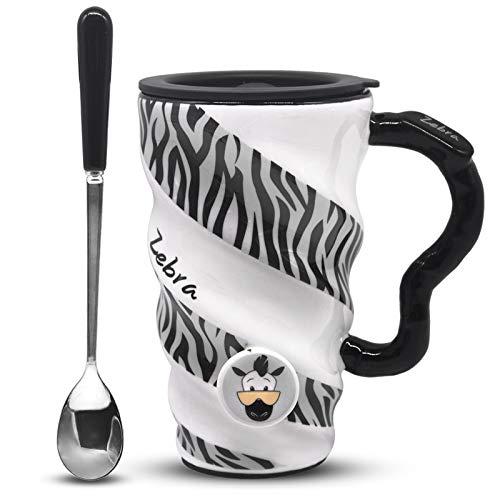 Angelice Home Zebra Kaffeetasse, Keramik, lustig, große Kapazität, Tasse mit Deckel und Löffel, für Damen und Herren