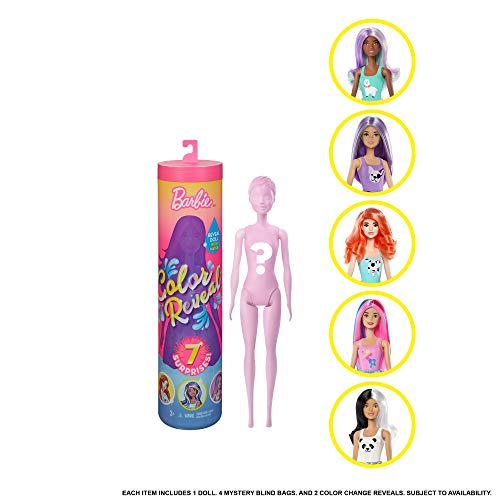 Barbie GMT48 Color Reveal Puppe mit Enthüllungseffekt mit 1 Überraschungspuppe und 7 weiteren Überraschungen, Spielzeug ab 3 Jahren