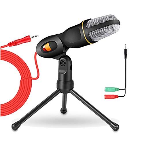 PC Mikrofon, Computer Laptop Kondensator mikrofon Mikros mit Ständer und 3,5mm Klinke Gaming Microphone mit 3,5 mm Kopfhörer Splitter für Besprechung, podcast Aufnahme Live-Übertragung YouTube