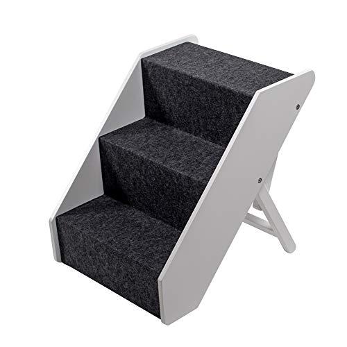 UPP Hundetreppe Premium   Massiv aus FSC Holz und höhenverstellbar  3-stufige Treppe für Hunde bis 70 kg   Klappbare Hunderampe für Auto und Innenbereich [Weiß]