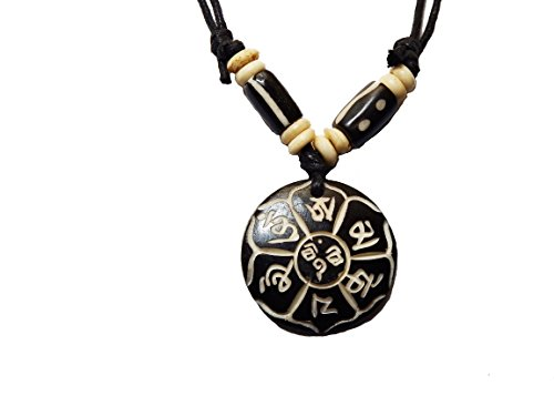 Tibetan Adjustable Handmade Necklace Amulet Made in Nepal Embossed with Buddhist Prayer Mantra