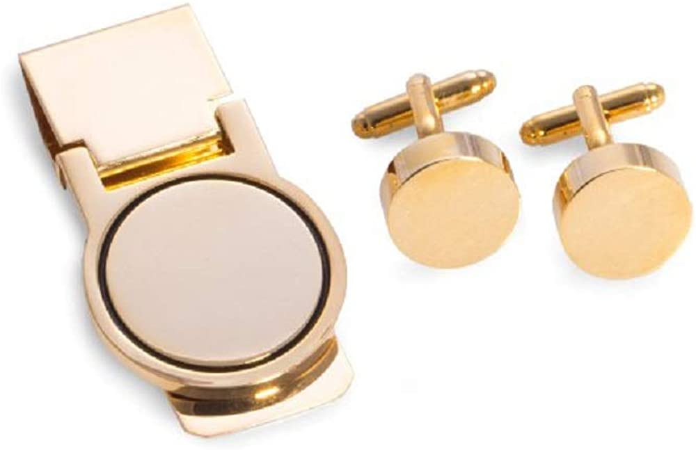 Cufflinks & Money Clip Set, Gold Color, tarnish proof