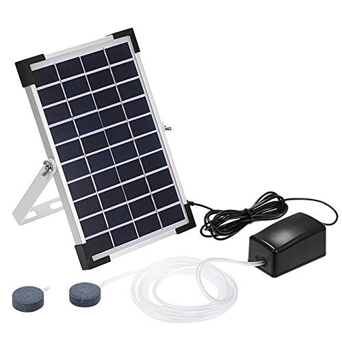 Solar Oxygen Air Fountain Pump, Solar Powered Watering Submersible Pump Kit with Aquarium Oxygen Pipe and Air Bubble Stone, Outdoor Oxygenator Aerator for Garden Fish Tank Pool Fishing Pond (5W)