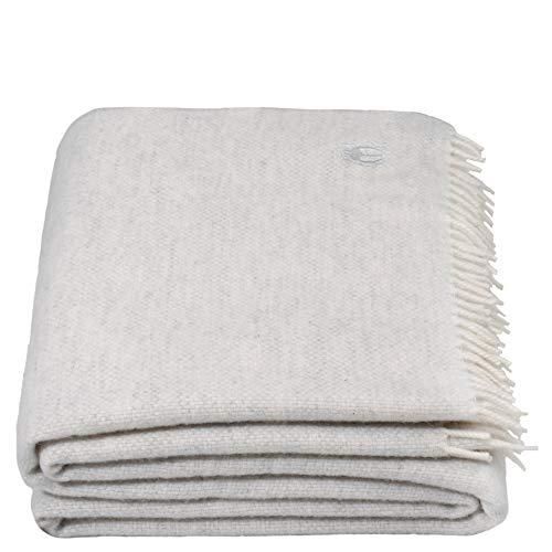 Must Relax-Decke – Wolldecke – hochwertiges Plaid aus reiner Schurwolle mit Fransen – 130x190 cm – 010 offwhite – von 'zoeppritz since 1828'