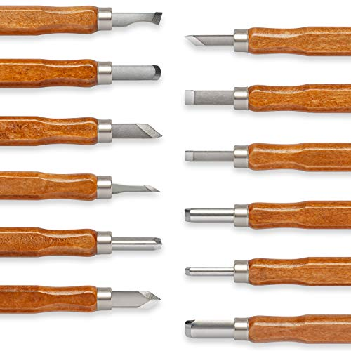 Premium Mart's Wood Carving tools for beginners - 12 Piece Wood Carving Set for Beginners with Japanese SK2 Blades and Wooden Handles - Whittling Kit with Various Carving Tools - Great For Kids