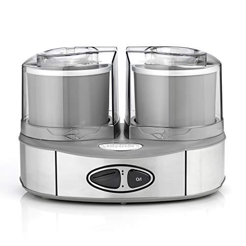 Cuisinart Eismaschine Ice Cream Duo inkl. 2 x 1L Eisbehälter um 2 Eissorten gleichzeitig zuzubereiten, Edelstahl