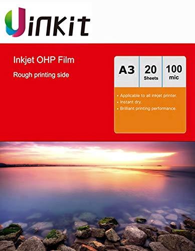 OHP - Lámina para impresora de inyección de tinta (A3, 20 hojas, 420 x 297 mm), color blanco