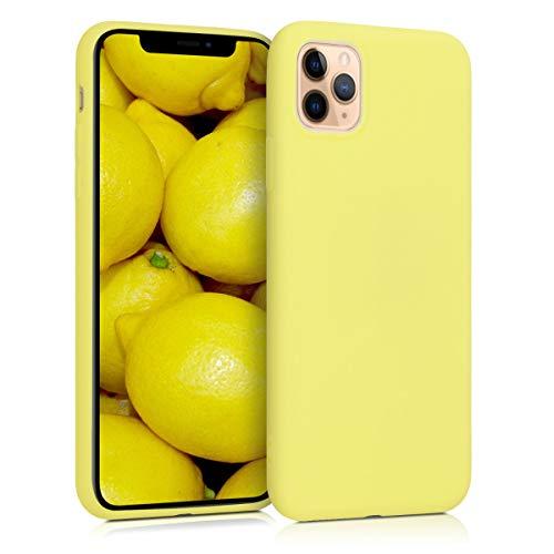 kwmobile Carcasa Compatible con Apple iPhone 11 Pro MAX - Funda móvil de Silicona - Protector de TPU en Amarillo Pastel Mate