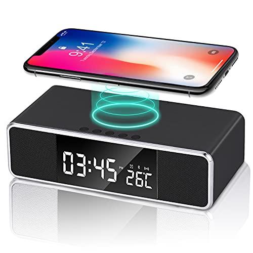 Digital Alarm Clock with Wireless Charging, Dual Bluetooth Speakers Desk Clock, Bedside FM Radio Clock, 3 Alarm Options,USB Charger Port, Dimmable LED Display Alarm Clock for Bedroom (Black)