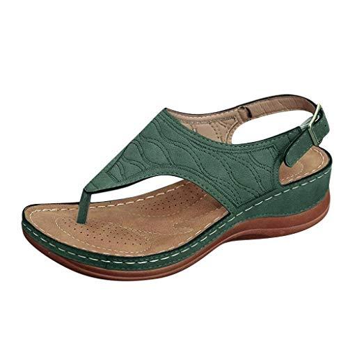 sandali tacco alto sandali comodi ciabatta donna pantofol gomma ciabatta estiva donna ciabatte donna estive ortopediche infradito donna eleganti con strass sandalo tacco largo (A46-Green,40)