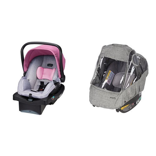 Find Discount Evenflo LiteMax 35 Infant Car Seat, Azalea with Infant Car Seat Weather Shield and Rai...