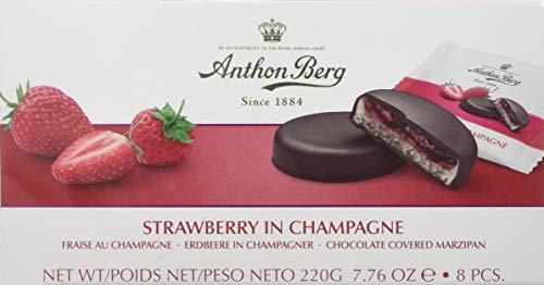 Strawberry in sparkling wine 984051 Chocolade mit Marzipan (41%) und Füllung (25%) mit Erdbeeren in sparkling wineine