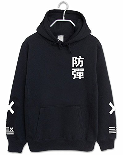 SERAPHY Unisex Kapuzenpullover KPOP Pullover Sweatshirt für Army Suga Jin Jimin Jung Kook J-Hope Rap-Monster V schwarz XL