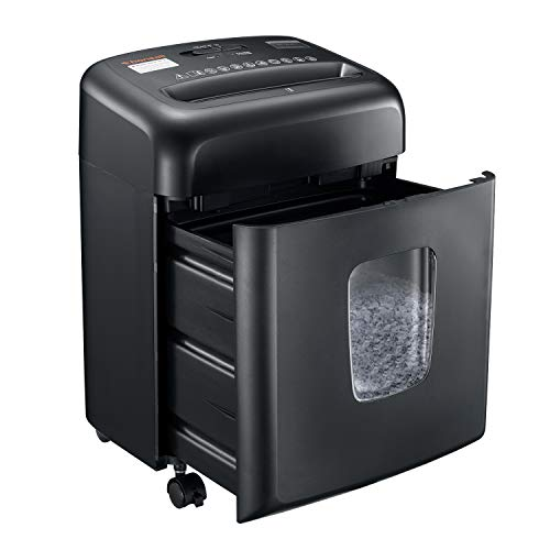 Shredder for Home Office, Bonsaii Micro Cut Paper and Credit Card Shredder, 8 Sheet Paper Shredder with 4 Gallons Transparent Window, Black (C206-D)