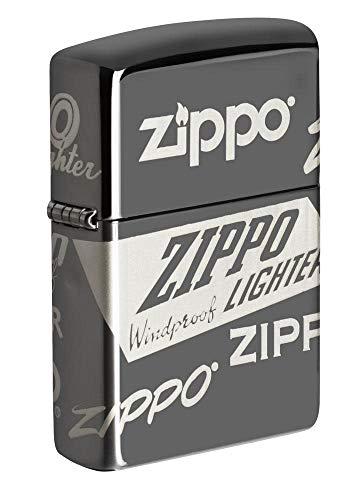 ZIPPO – Zippo Logo Design - Black Ice – Sturmfeuerzeug, nachfüllbar, in hochwertiger Geschenkbox