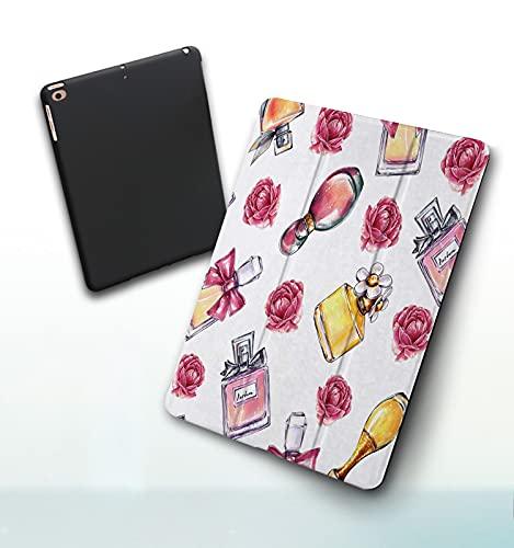 Funda para iPad 9,7 Pulgadas, 2018/2017 Modelo, 6ª / 5ª generación,Perfume Vintage Flores Belleza y Moda Smart Leather Stand Cover with Auto Wake/Sleep